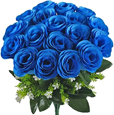XYXCMOR Artificial Flower Bouquet 18 Heads Silk Roses Bridal Home Garden Office Dining Table Wedding Decor Blue