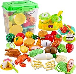 comprar comparacion deAO Juego de Comida, Frutas y Verduras para Cortar Conjunto Infantil de Imitación Accesorios de Cocina de Juguete Activid...