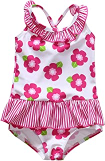 ALove Baby Girls Floral One Piece Swimsuit Ruffle Bathing Suits Bowknot Swimwear