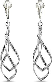 Aloha Earrings Womens Clip Earrings Silver, Silver Earrings Clip On Womens Lightweight Silver Clip Earring