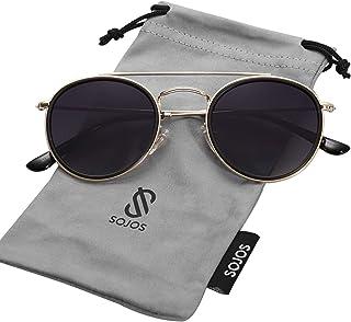 SOJOS Small Round Polarized Sunglasses Double Bridge...