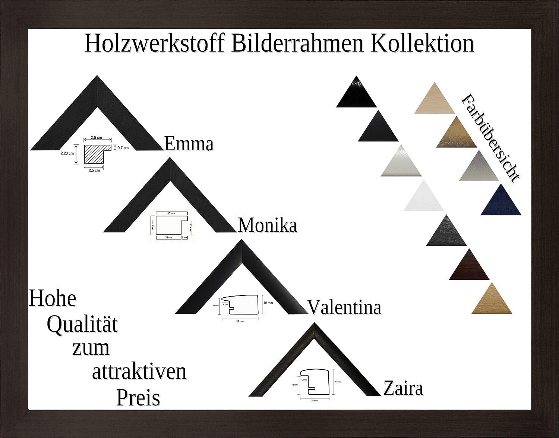 Valentina Holzwerkstoff Bilderrahmen modern abgerundet 100 x 140 cm Gre, Farbe und Verglasung whlbar 140x100 cm, Hier Eiche dunkel Dekor mit Acrylglas klar