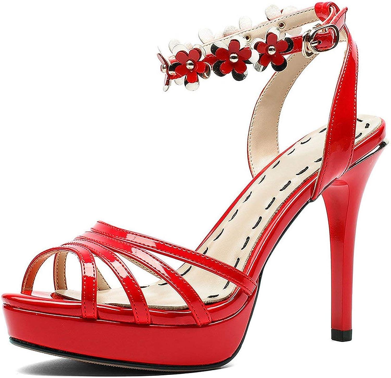 Jifntrs Jifntrs Jifntrs Big Storlek 34 -40 Patent Pu läder Ankle Starp High klackar Platform skor kvinna Party sommar Sandals  wholesape billig