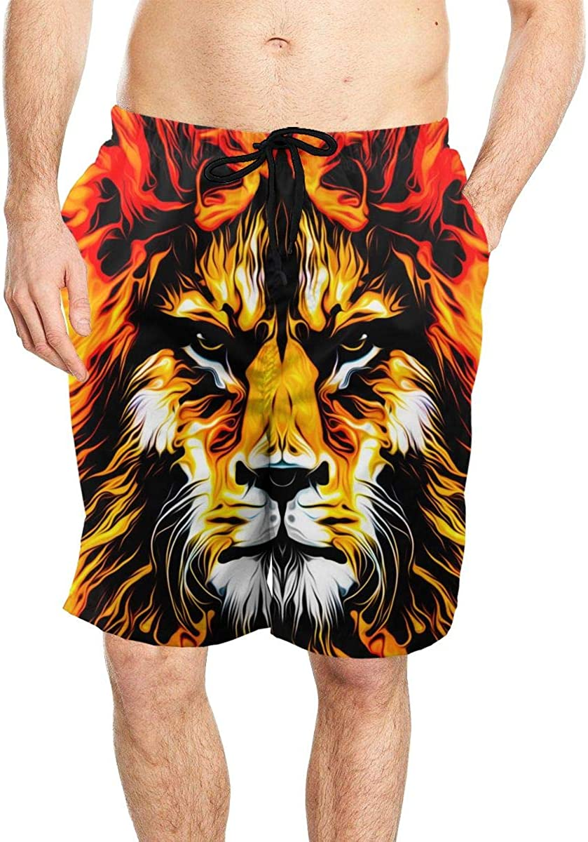 DASMUS Lion Head Colorful Mens Quick Dry Beach Board Shorts Swim Trunks with Mesh Lining