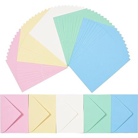 perfect ideaz 50cartes pliantes colorées avec enveloppe 11x15,5cm, fabriquées de manière durable en Allemagne, double carte en 5couleurs pastel, ensemble vierge pour la réalisation de cartes de vœux