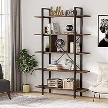 Tribesigns Estantería Industrial 5 Capas Librería para Salón Oficina, Vintage y Negro Librería,105x29.5x180cm