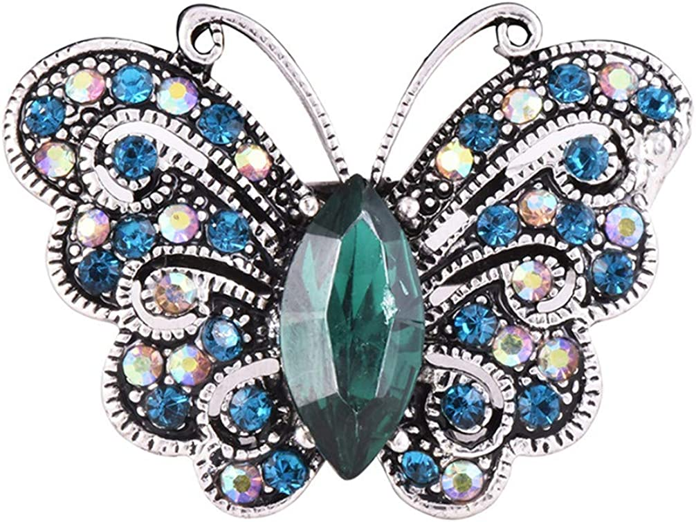 Toporchid Blue Vintage Winged Butterfly Brooch Cute Animal Shape Corsages Scarf Clips Brooches For Women Girls