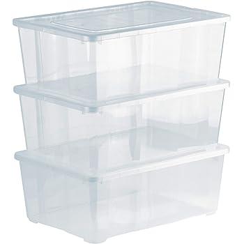 Grizzly 3 x Caja de Almacenaje con Tapa de 10 L - Cajón de Plástico Transparente Apilable - Caja Multiusos Organizador de Armarios para Ordenación de Ropa: Amazon.es: Oficina y papelería