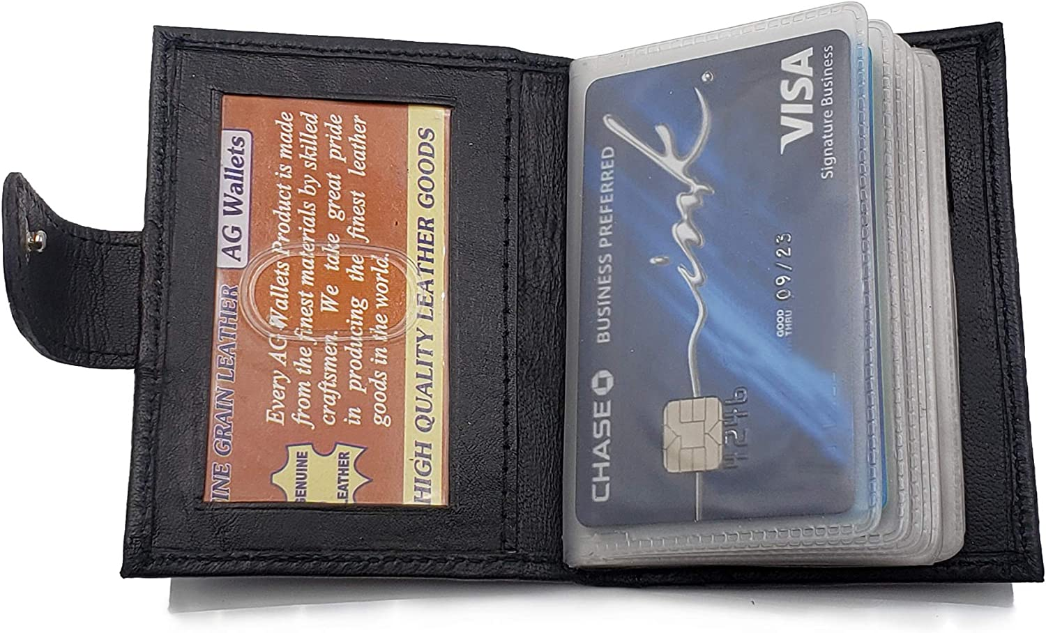 AG Wallets Genuine Leather Credit Card and Pictures Insert Wallet with Snap Close Black