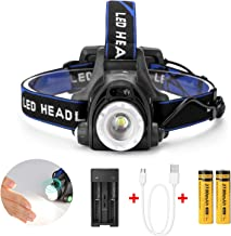 Headlamp,4 Lighting Modes Super Bright LED Waterproof Head Torch Headlight,Adjustable Head Flashlights with 2 Pack 18650 Rechargeable Battery for Camping Hiking Fishing Running