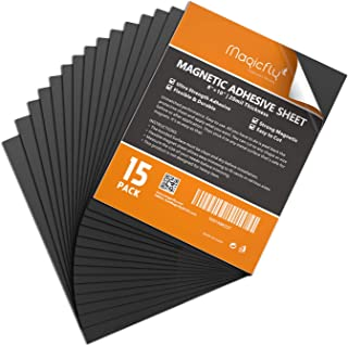 Magnet Sheets with Adhesive 8 X 10 Inch, Magicfly Pack of 15 Flexible Sticky Magnet Sheet Crafts Photos and More, Easy Peel and Stick