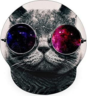 Britimes Ergonomic Mouse Pad with Wrist Support Hipster Cat Wear Color Galaxy Sunglasses Non-Slip Rubber Base Mousepad for...