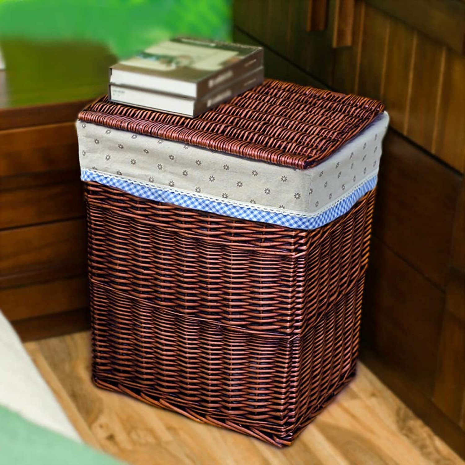 FANGFA Storage Basket Wicker Hand Weaving with Lid Living Room Bathroom Clothes Toy Finishing Box (2 colors, 2 (color   Brown-c, Size   38  28  46cm)