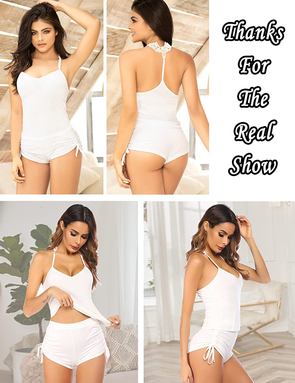 Avidlove Pajamas Set Womens Sleepwear Sexy Lingerie Nightwear Cami PJS Set with Shorts