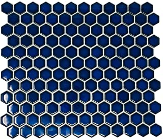 Hexagon Cobalt Blue Porcelain Mosaic Tile Glossy Look 1`` Inch (Box of 10 Sheets), Floor and Wall Tile, Backsplash Tile, Bathroom Tile on Mesh for Easy Installation