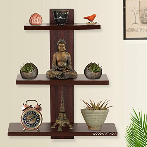Woodkartindia Wooden Wall Shelf Wall Rack Home Decoration Shelves Wall Display Rack For Living Room Office Wall D Cor 3 Shelves Mahogany