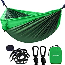 Camping Hammock, Portable Double Hammock with 2 Tree Straps(16+2 Loops), 2 Person Hammocks with 210T Parachute Nylon for B...