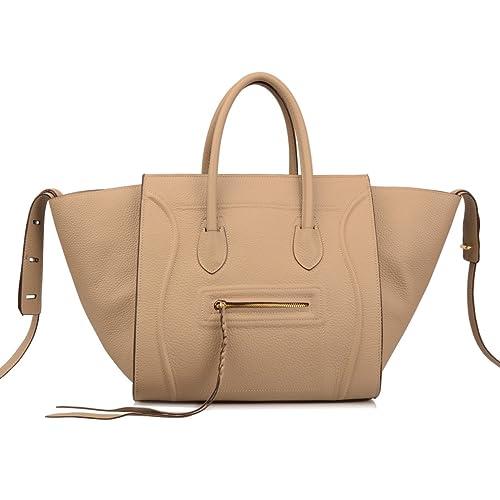 8043112f2f41 Ainifeel Women s Genuine Leather Bat Oversize Tote Bag Purse Handbags