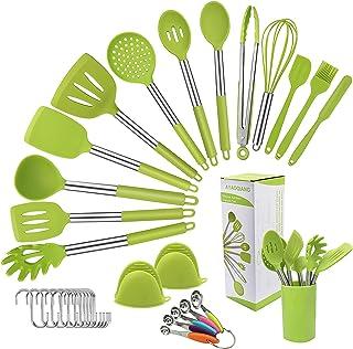 AYAOQIANG Ustensiles de Cuisine Silicone, 33 Pièces kit avec poignée en Acier Inoxydable, antiadhésive Anti-Rayures et rés...
