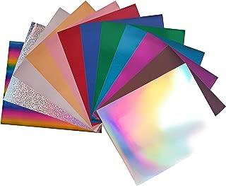 "HTV Metallic Stretchable Foil Heat Transfer Vinyl Bundle 10""x12"": 12 Assorted Colors Iron On Vinyl for Silhouette Cameo, Cricut or Heat Press"