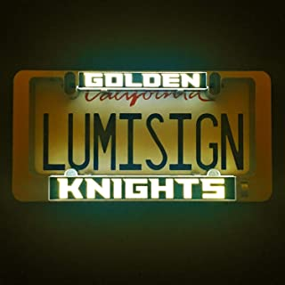 LumiSign - The Auto Illuminated License Plate Frame | Lights While Braking | Installs in Seconds | No Wires, Battery Operated | Switchable Inserts (Golden Knights)