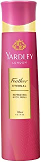 Yardley Feather Eternal Body Spray For - perfumes for women, Rose leaves, Red berries, magnolia and jasmine fragrance, 150 ml