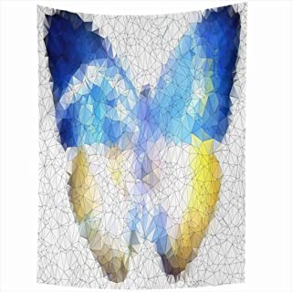 Ahawoso Tapestry 60x80 Inch Group Colorful Glass Ukraine Freedom Butterfly Geometric Abstract Origami Architecture Beautiful Blank Creative Tapestries Wall Hanging Home Decor Living Room Bedroom Dorm