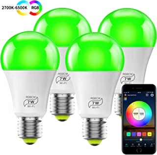 MagicLight WiFi Bulb No Hub Required, Dimmable Multicolor E26 A19 7W (60w Equivalent) Color Changing LED Smart Light, Compatible with Alexa Google Home Siri IFTTT (4 Pack)