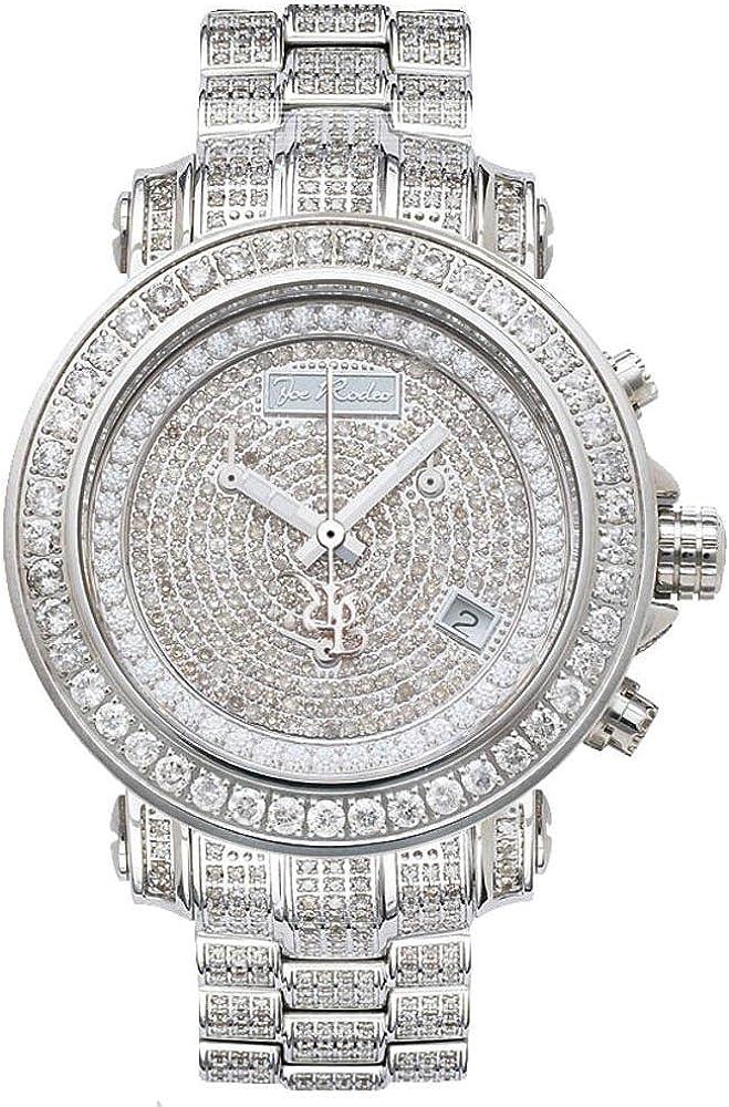 Joe rodeo diamond rio silver,orologio,cronografo unisex,cassain acciaio inossidabile, con diamanti JRO-39