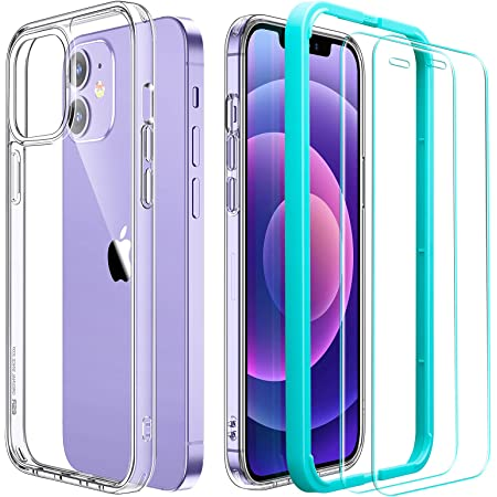 ESR Funda Híbrida Compatible con iPhone 12/12 Pro 6.1'' con 2 Protector de Pantalla, Anti-Amarillea y Anti- Arañazos, Carcasa Silicona, Transparente