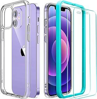 ESR Klart hybridfodral och pansarglas kompatibel med iPhone 12 och iPhone 12 Pro hård baksida och mjuk ram Kar