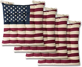 Sweet Home Collection Chair Cushion Seat Pads Indoor/Outdoor Printed Tufted Design Soft and Comfortable Covers for Dining Rooms Patio with Ties for Non Slip, 4 Pack, American Flag