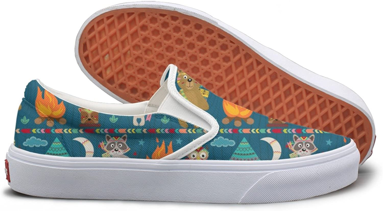 Tribal Fox Owl Bear And Rabbit Slip On Canvas shoes For Women Wide