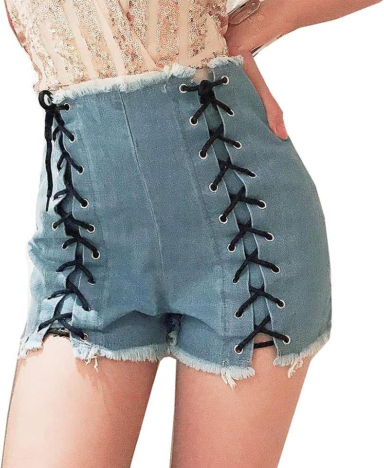 LIYT Women's High Waist Beach Shorts Denim Jeans Shorts Mini Hot Pants