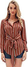 D Jill Women's Casual Striped V Neck Button Up Long Sleeve Blouse Shirt Tops Tie Waist
