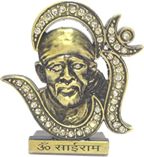 Discount4product Metal Antique Om with Sai Baba Idol for Puja Or Car Front Standard Metallic
