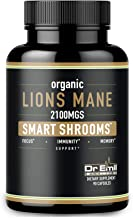 Organic Lions Mane Mushroom Capsules - Maximum Dosage + Absorption Enhancer - Nootropic Brain Supplement and Immune Suppor...
