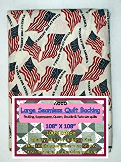 Quilt Backing, Large, Seamless, from AQCO, Flag/White, C17000-002