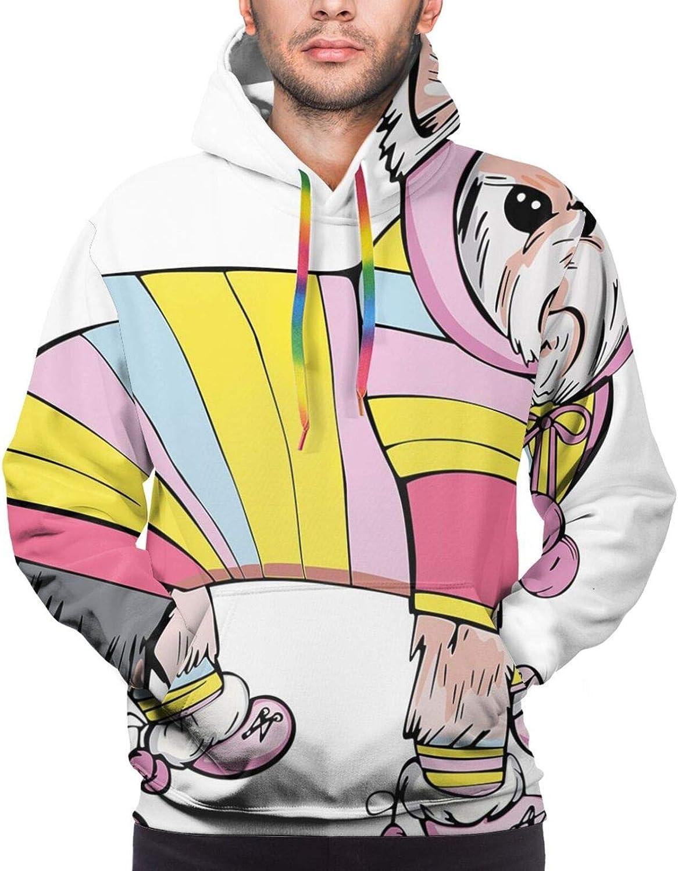 TENJONE Men's Hoodies Sweatshirts,Cute Dinosaur Characters with Spring Meadow Flowers Hearts