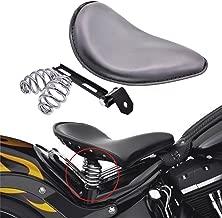 KATUR Black Leather Solo Seat 3Inch Spring Mounting Bracket Kit for Harley Harley Honda Yamaha Kawasaki Suzuki Sportster Bobber Chopper