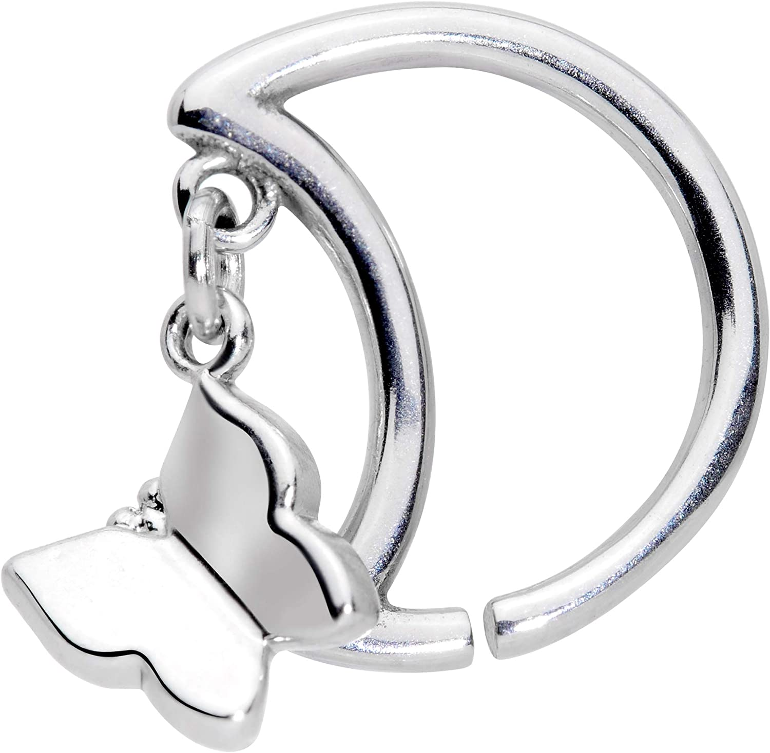 Body Candy Womens 16G 316L Steel Crescent Moon Butterfly Dangle Closure Ring Daith Helix Tragus Rook 3/8