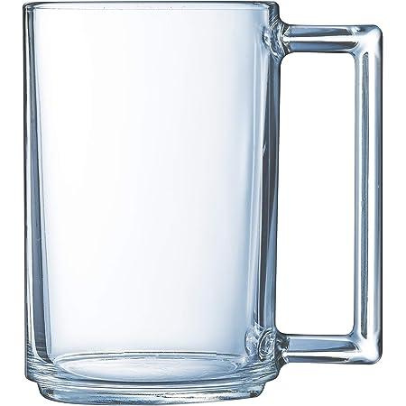 Luminarc - Mug 32 cl A la Bonne Heure - Verre Trempé - Design Tendance - Poignée Ergonomique - Compatible Micro-Ondes et Lave-Vaisselle - Fabrication Française