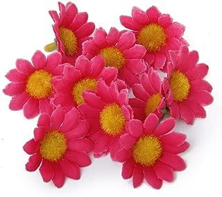MXXGMYJ 100Pcs Artificial Flowers Wholesale Fake Flowers Heads Gerbera Daisy Silk Flower Heads Sunflowers Sun Flower Heads for Wedding Party Flowers Decorations Home D¨¦cor Dark Pink