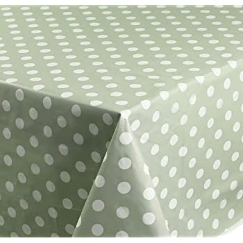 Sage Green Polka Dot Spots PVC Vinyl Wipe Clean Tablecloth Oilcloth ALL SIZES