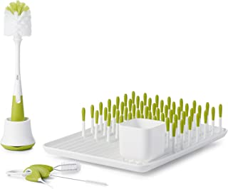 OXO Tot Bottle & Cup Cleaning Value Set with Bottle Drying Rack, Cleaning Set for Straw & SippyCups, and Bottle Brush with Stand