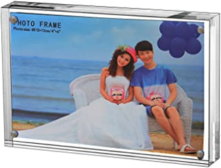 Clear Acrylic Photo Frame,Magnetic Perspex Picture Holders Table Standing Double Side Displays (2.5x3.5