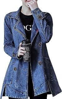 32c44c0941 Veste En Jean Femme Trench-Coats Longue Manteau Veste Manche Longue Denim  Blouson Veste