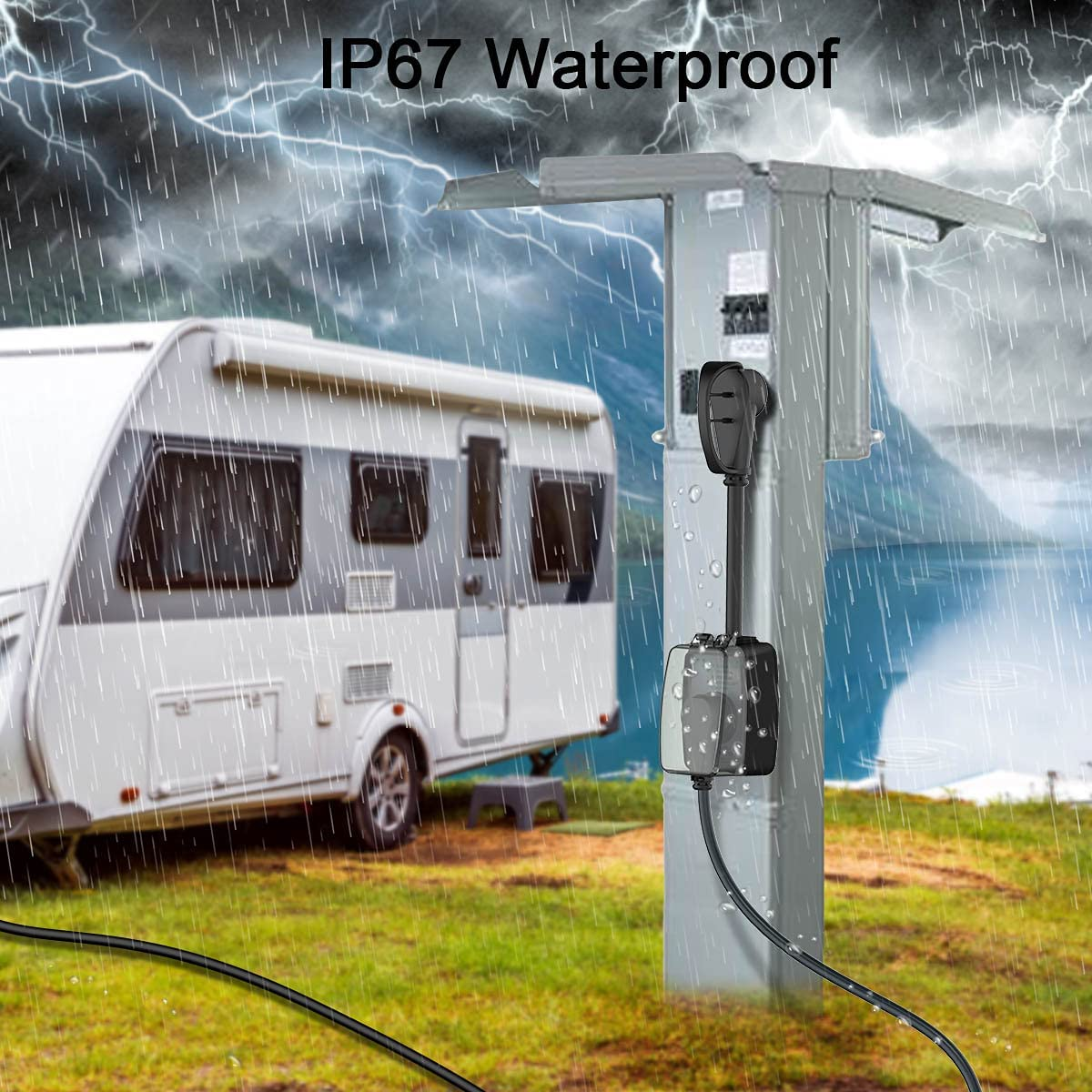 POWSAF rv Surge Protector 30 amp with Waterproof Cover, rv Power Defender Voltage Protector/Monitor with Surge Protection(4100 Joules), Designed with Easy to Use Handles : Automotive