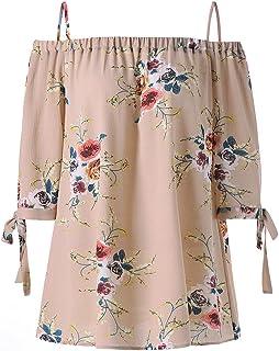 ZAFUL Women Plus Size Floral Classic Straps Cold Shoulder Regular Sleeve Blouse Shirt Top
