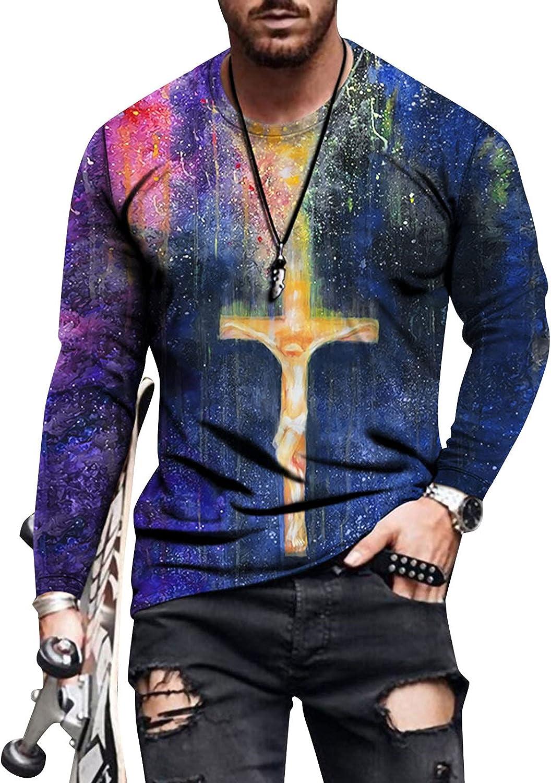 FUNEY Men's 3D Print Graphic Optical Illusion T-Shirt Long Sleeve Round Neck Tie Dye Sweatshirts Slim Fit Basic Muscle Tees